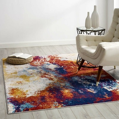 Burnley Entourage Contemporary Modern Abstract Red Area Rug