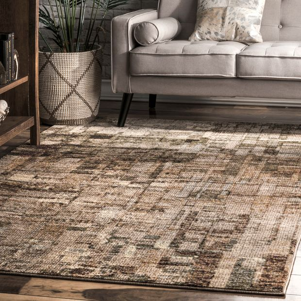 Brown Abstract Mural Area Rug