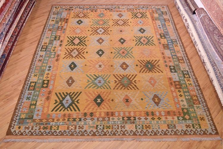 Large Veg Dye Afghan Kilim Rug