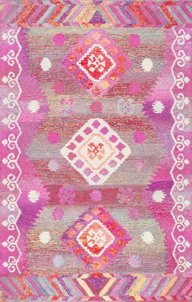 Pink Tribal Diamond Centerpiece Area Rug