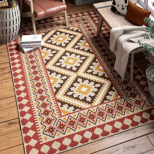 Rangely Red and Beige Area Rug