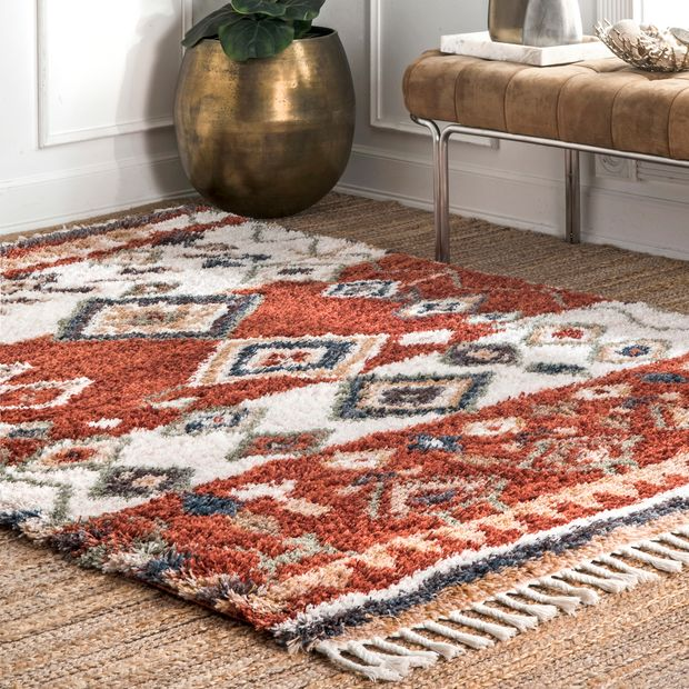 Red Moroccan Diamond Shag With Tassels Area Rug