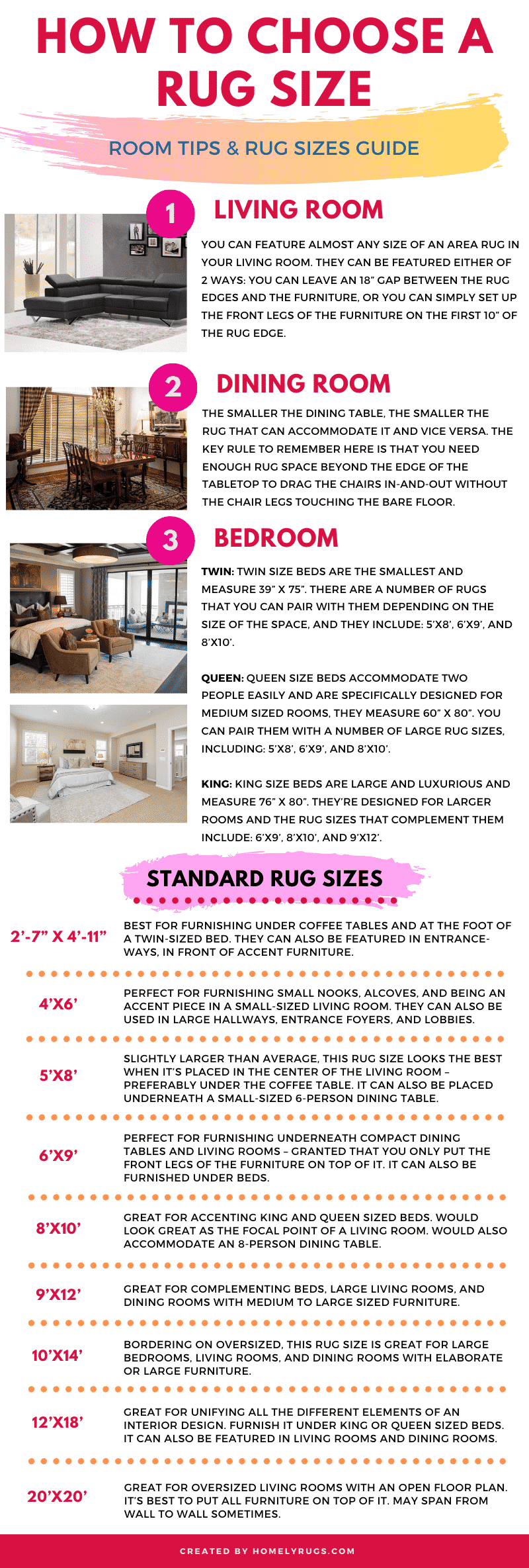 Standard Rug Sizes Chart & Guide Infographic