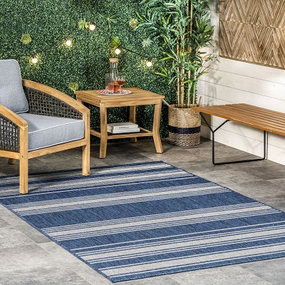 Blue Awning Striped Indoor Outdoor Area Rug