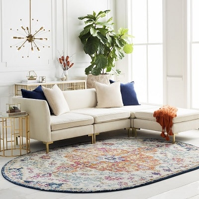 Classical-Contemporary Faded Oval Area Rug