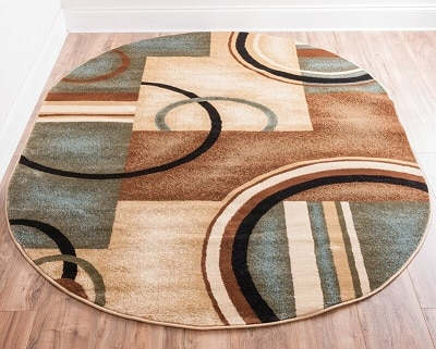 Contemporary Deco Rings Oval Area Rug Wooden Floor