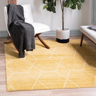 Elborough Geometric Yellow Area RugElborough Geometric Yellow Area Rug