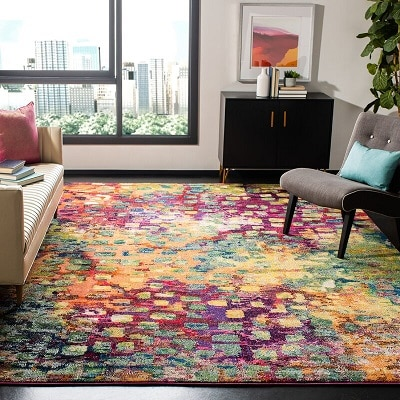 Feist Abstract Pink Green Yellow Area Rug