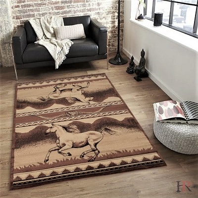 Horse Chocolate and Beige Area Rug