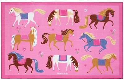 Horses Pink Area Rug