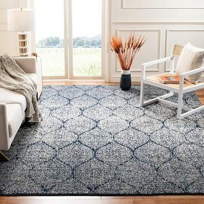 Katie Damask Navy Blue Silver Area Rug
