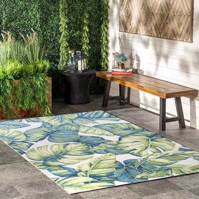 Multi Tropical Foliage Indoor Outdoor Area Rug