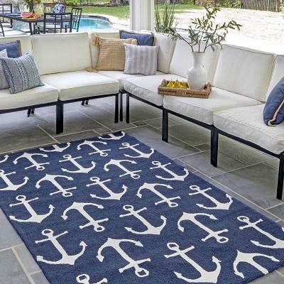Navy Anchors Indoor Outdoor Area Rug
