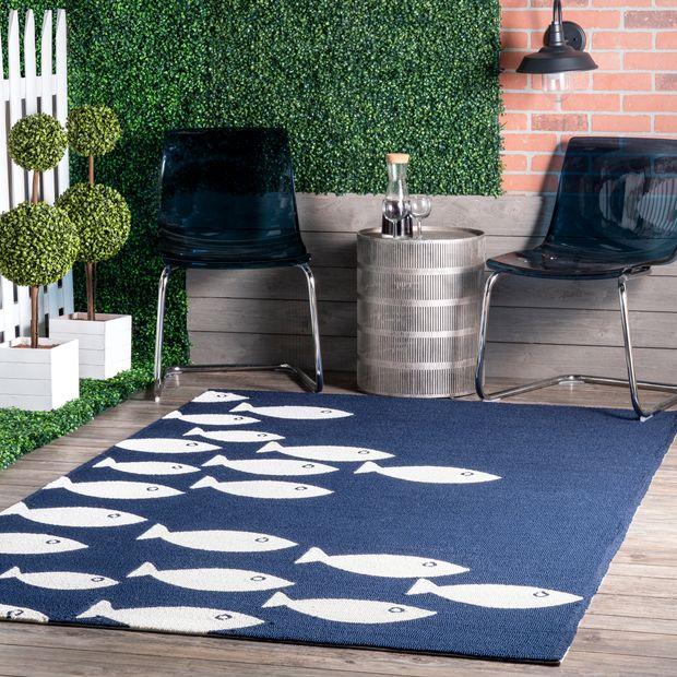Navy Fish Indoor Outdoor Area Rug