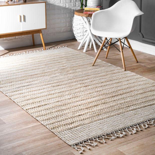 Beige Wool Striped Flatweave Area Rug