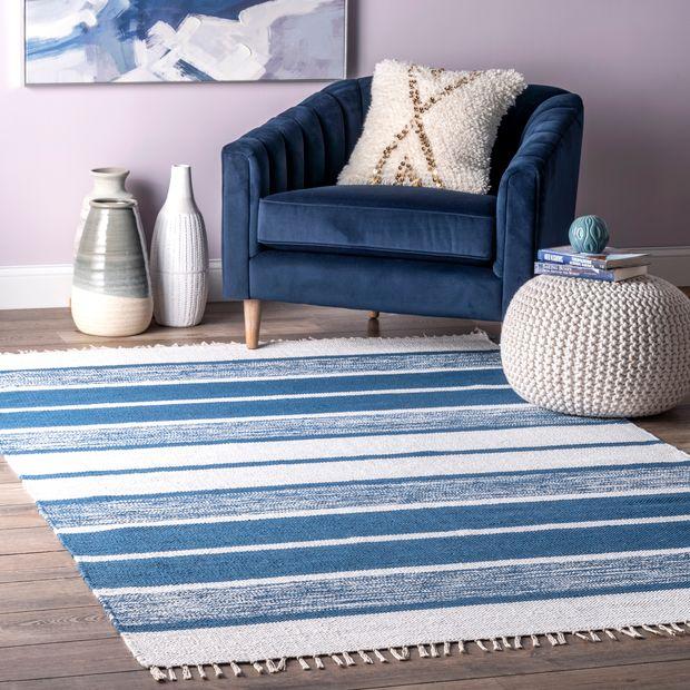 Blue Awning Stripes Tassel Area Rug