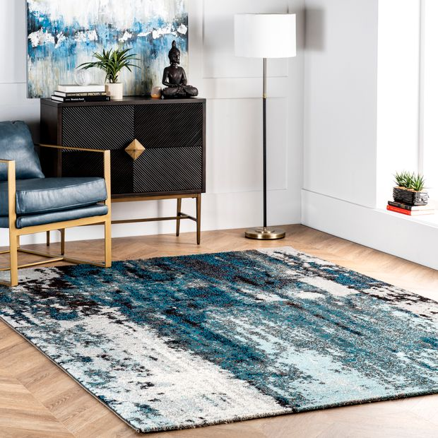 Blue Winter Abstract Area Rug