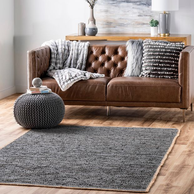 Gray Solid Leather Flatweave Area Rug