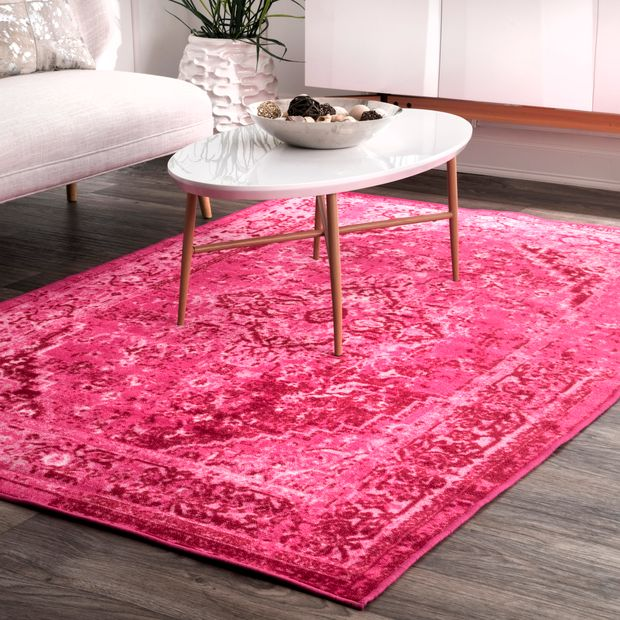 Pink Printed Persian Overdyed Vintage Area Rug