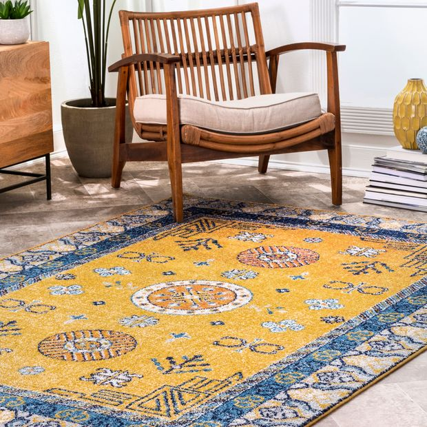 Yellow Chinese Art Deco Area Rug
