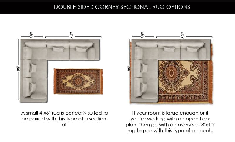 Double-Sided Corner Sectional Rug Size Options