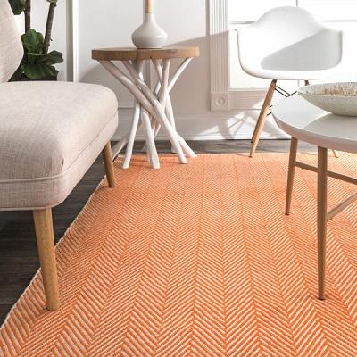 Orange Herringbone Cotton Flatwoven Area Rug