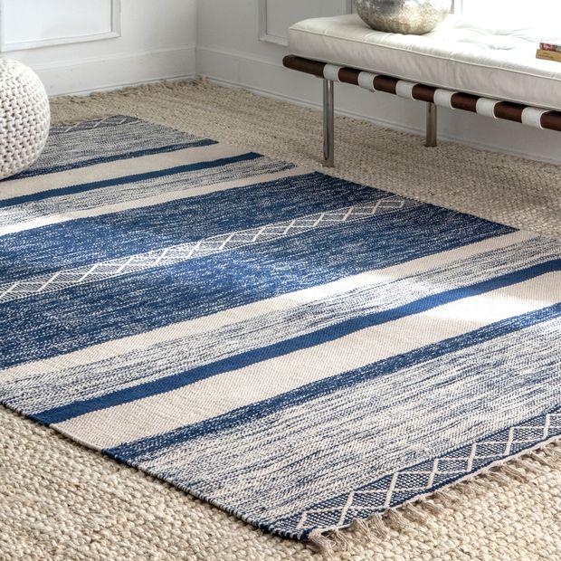 Blue Shaded Striped Kilim Fringe Area Rug