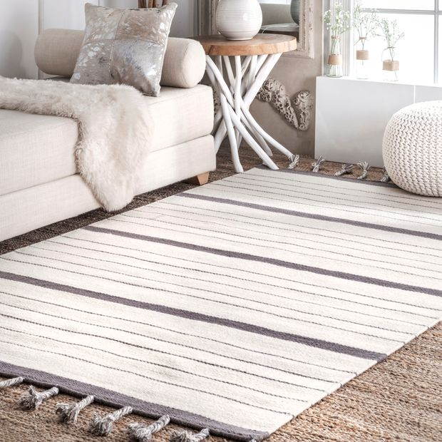 Gray Pinstriped Flatweave With Tassels Area Rug