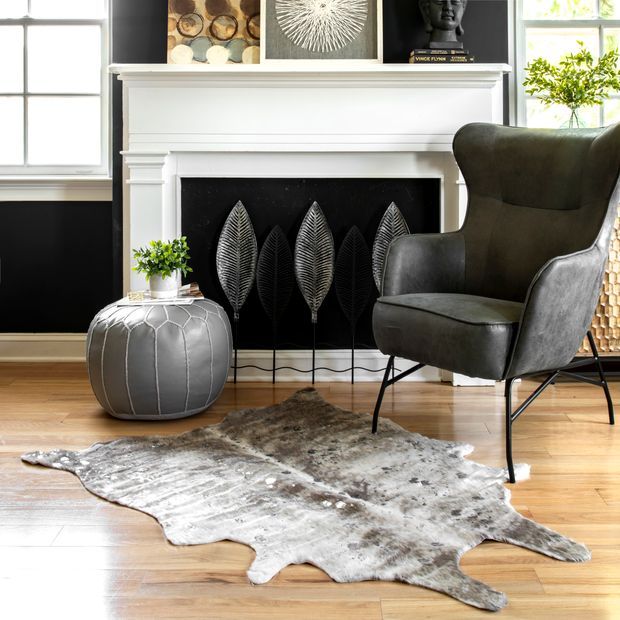 Gray Spotted Faux Cowhide Area Rug