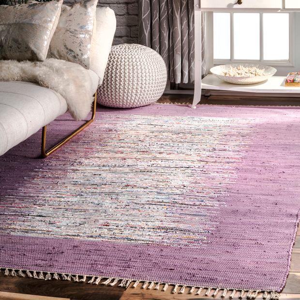 Lavender Turin Cotton Flatweave Area Rug