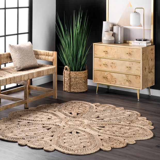 Natural Braided Floral Blossom Area RugNatural Braided Floral Blossom Area Rug