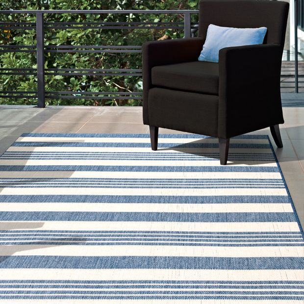 Blue Regency Stripes Indoor Outdoor Area Rug