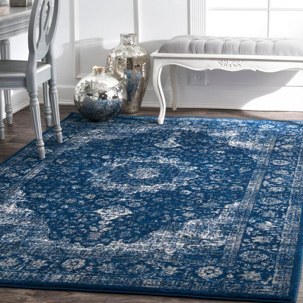 Dark Blue Distressed Persian Area Rug