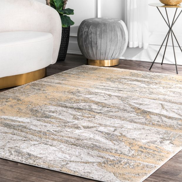 Gold Abstract Mural Area Rug