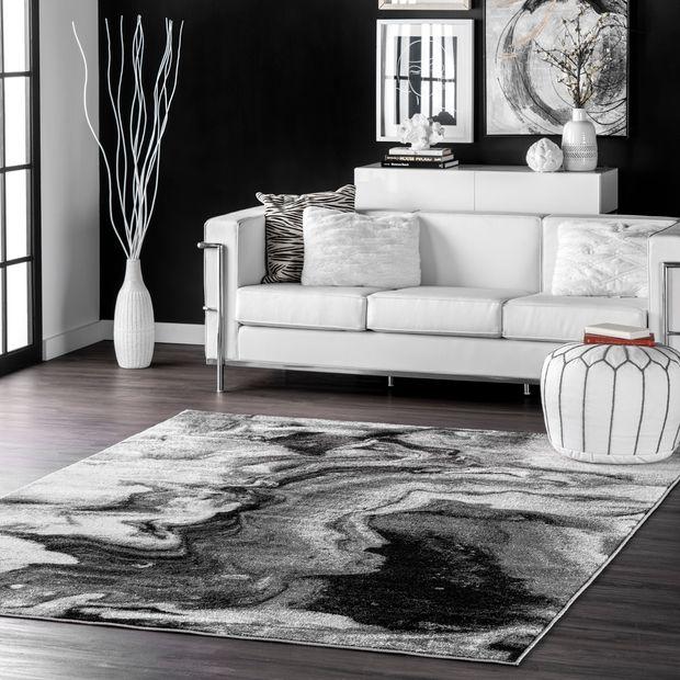Gray Maren Abstract Marbling Art Area Rug