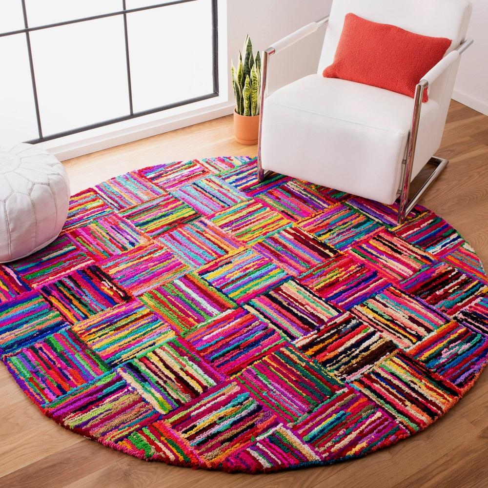 Multicolored round rug