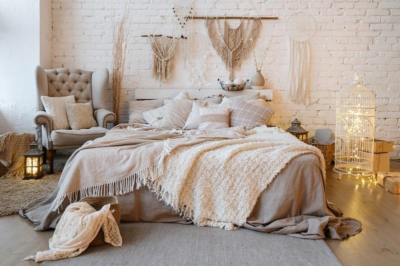 Warm bedroom with rug