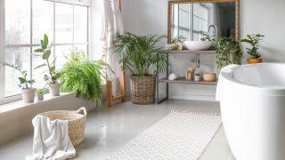 White bathroom rug