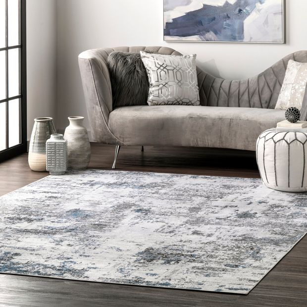 Gray Faded Abstract Washable Area Rug