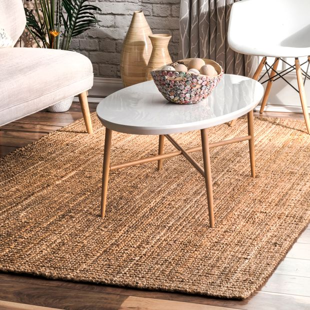 Natural Handwoven Jute Ribbed Solid Area Rug