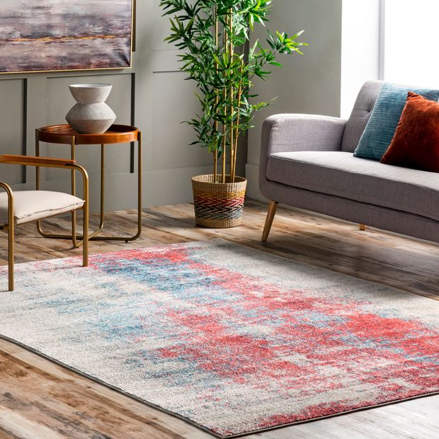 Rust Abstract Contemporary Area Rug